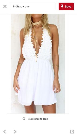 dress white white dress halter dress boho dress