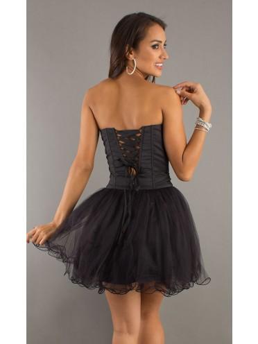 Strapless corset top chiffon semi formal dresses