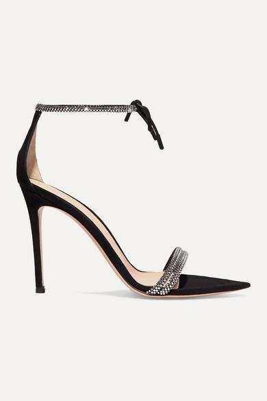 Gianvito Rossi - Camnero 105 Crystal-embellished Suede Sandals - Black - Camnero 105 Crystal-embellished Suede Sandals