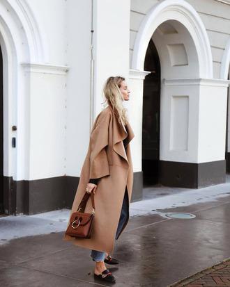 coat tumblr camel camel coat camel long coat long coat waterfall coat bag brown bag shoes loafers