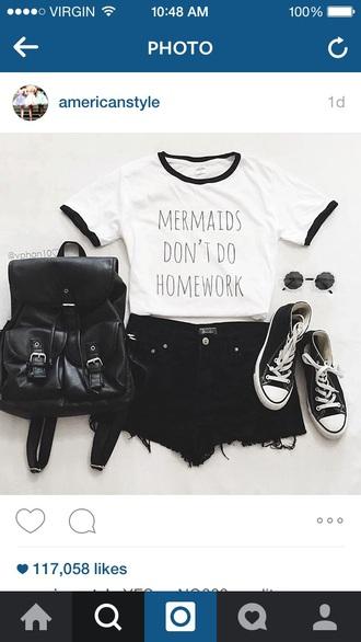 shirt tumblr weheartit white t-shirt white top white mermaid homework t-shirt black outfit cute top black and white black bag all star sunglasses brand