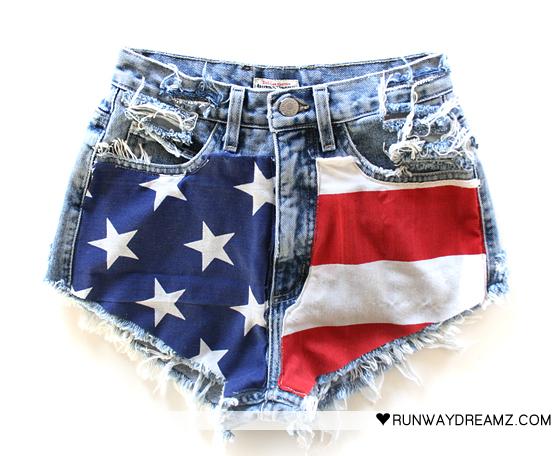 Runwaydreamz : 617 vintage american flag short