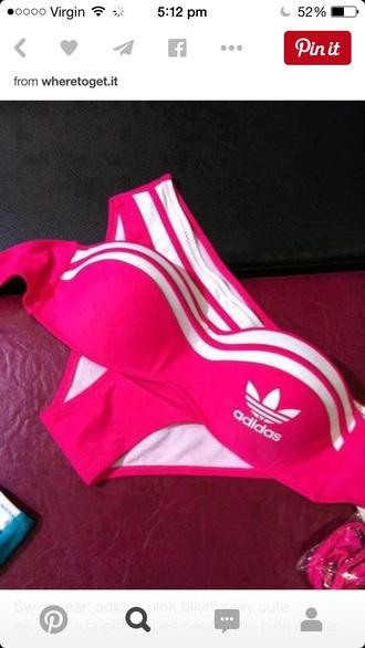 swimwear adidas bikini pink bikini neon pink bikini