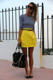 skirt,clothes,shoes,yellow,yellow skirt,striped top,striped shirt,stripes,skinny black belt,short,bright,preppy,cute,high waisted skirt,bag,swag