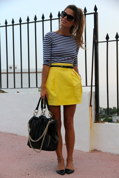 skirt clothes shoes yellow yellow skirt striped top striped shirt stripes skinny black belt short bright preppy cute high waisted skirt bag swag