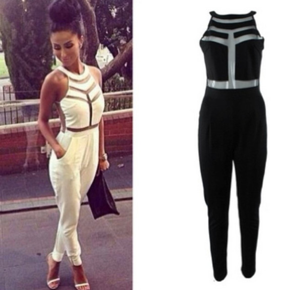 pants jumpsuit white black see through stripes collar