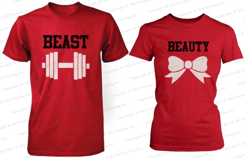 Beauty and The Beast His and Her Matching T Shirts for Couples in Red | eBay