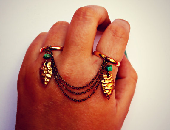 arrowhead and turquoise double ring slave ring by alapopjewelry