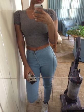 jeans high waisted jeans light blue jeans top
