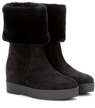 wedge boots boots suede black shoes