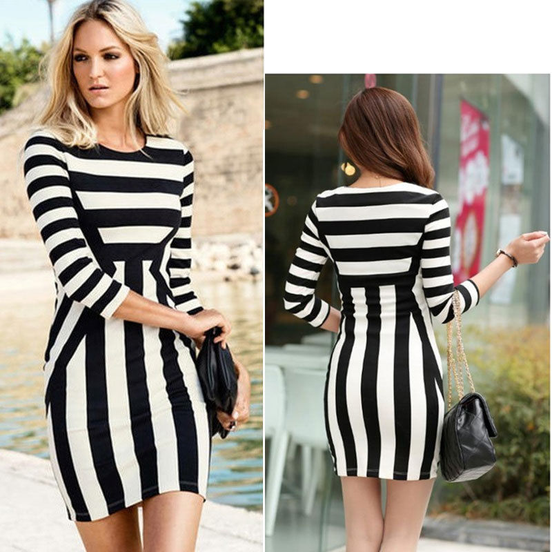Womens Celeb Monochrome Striped Optical Illusion Party Bodycon Dress Black White | eBay