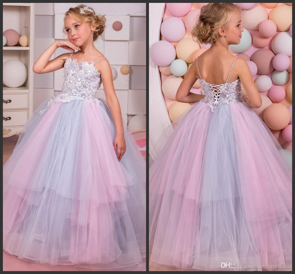 Colourful Pageant Dresses Appliques Elegant Pearls Lace Up Back ...