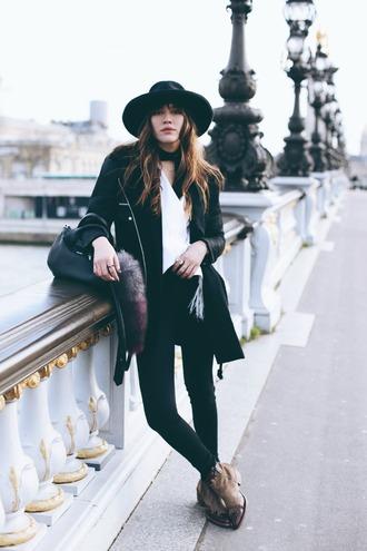 natalie off duty blogger hat blouse jacket jeans scarf shoes bag