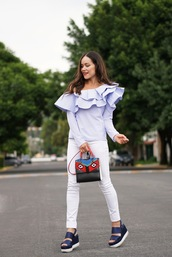 top,ruffled top,white jeans,tumblr,off the shoulder,off the shoulder top,ruffle,denim,jeans,sandals,wedges,wedge sandals,bag