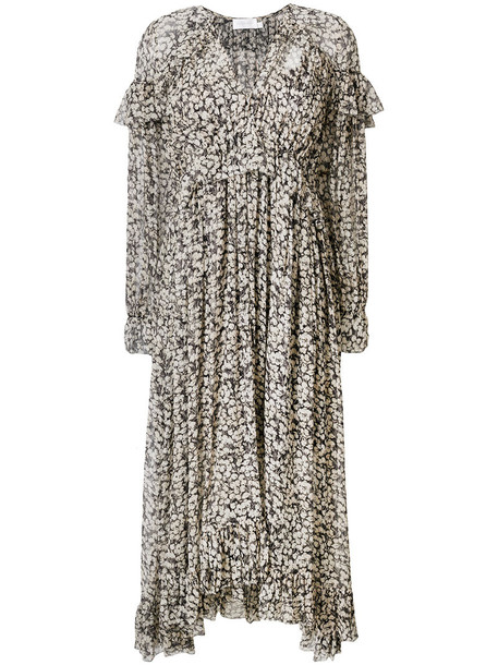 Zimmermann dress floral dress women spandex floral black silk