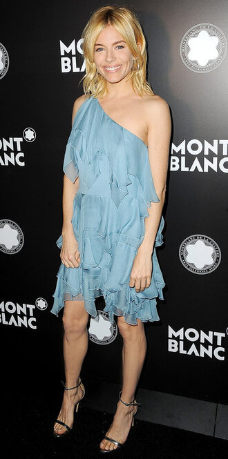 dress one shoulder mini dress ruffle sienna miller