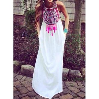 dress boho dress tribal print dress maxi dress
