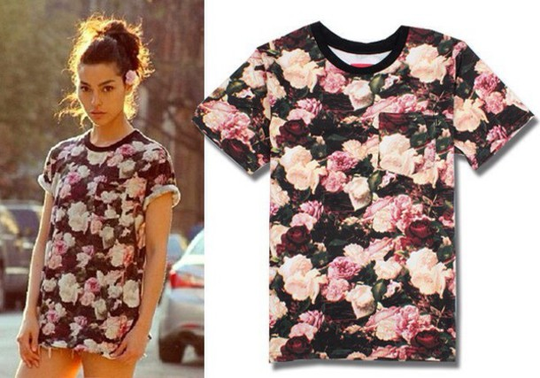 t-shirt floral cute pink black tumblr pocket t-shirt girly floral pocket t-shirt