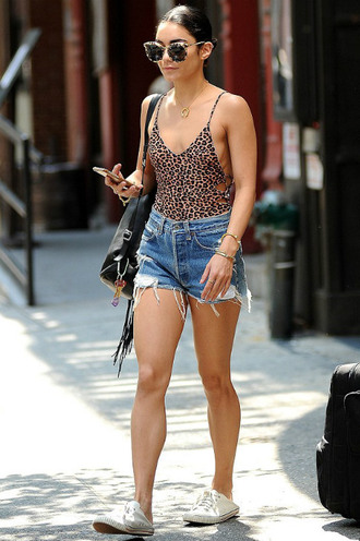 top bodysuit shorts sneakers denim shorts vanessa hudgens summer outfits leopard print hat sweater sunglasses