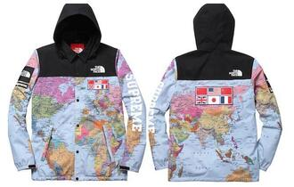 jacket coat map print north face windbreaker supreme