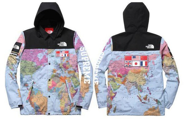 2fad3a4797 jacket coat map print north face windbreaker supreme map print