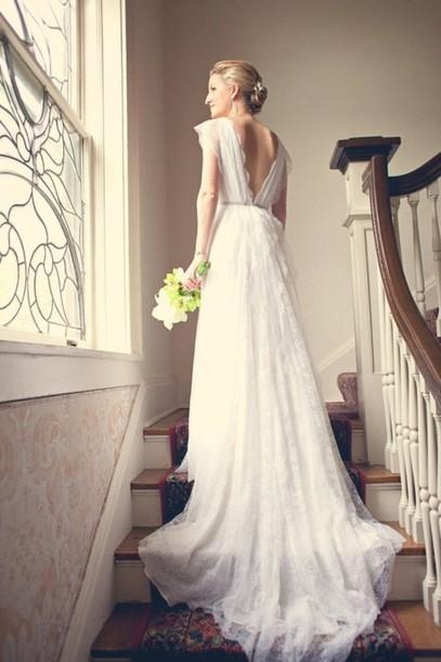 Dress lace wedding dress deep v back hipster wedding for Deep v back wedding dress