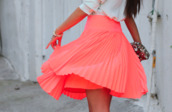 skirt,pink,coral,pleated,high waisted