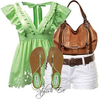 top blouse purse sea green sandals shorts