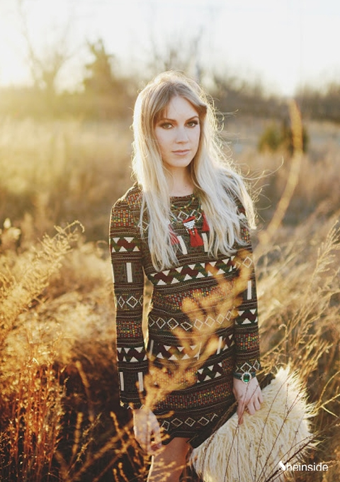 Red Long Sleeve Tribal Pattern Straight Dress - Sheinside.com