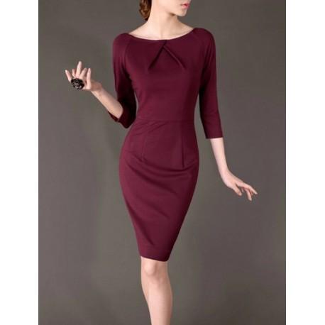 Wine Summer OL O-neck Loose Women Fashion Dress lml7003 - ott-123 - Global Online Shopping for Dresses