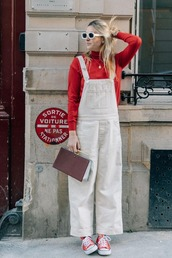 jumpsuit,overalls,white overalls,top,bag,shoes,sunglasses
