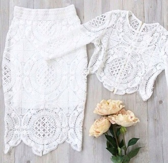 dress white lace white dress lace top skirt two-piece