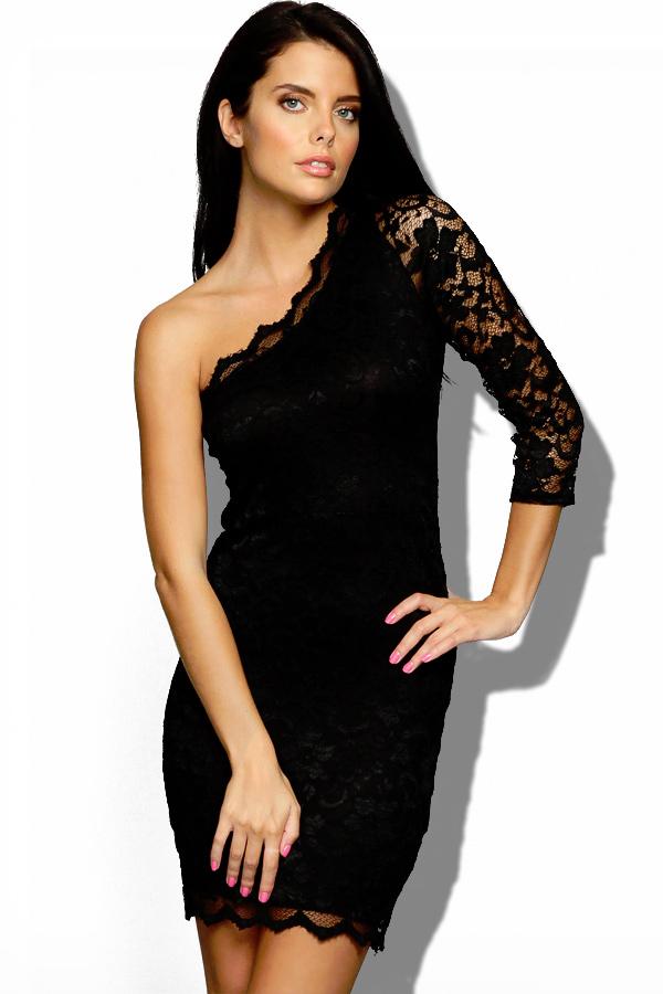 black cocktail dress lightweight black lace one shoulder