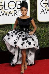 dress,janelle monae,gown,prom dress,high low dress,red carpet dress,sandals,black and white,golden globes 2017