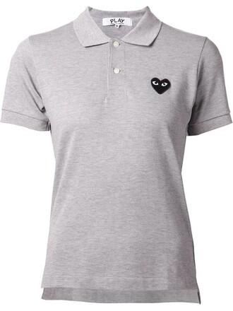 shirt polo shirt heart embroidered grey top