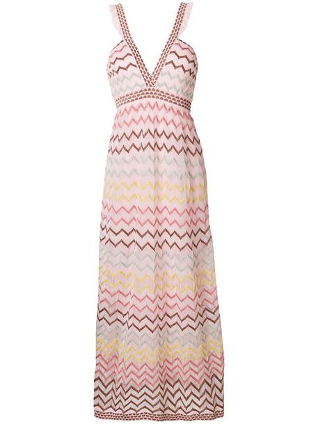 M Missoni dress maxi dress maxi metallic women cotton purple pink