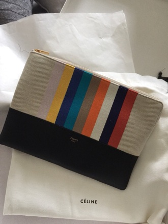 bag celine black and red multi colored clutch style luxury