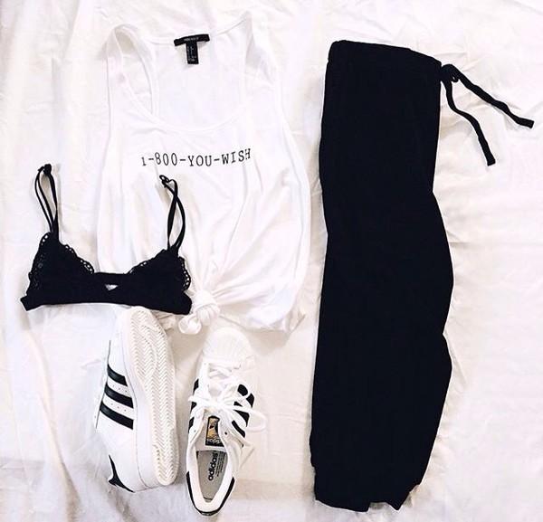 shirt pants sweatpants shoes bralette black white blake lively spring outfits summer dress outfit adidas superstars adidas shoes adidas black and white