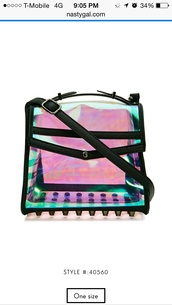 bag,multicolor clear plastic bag,transparent  bag,holographic bag,nastygal,shoulder bag