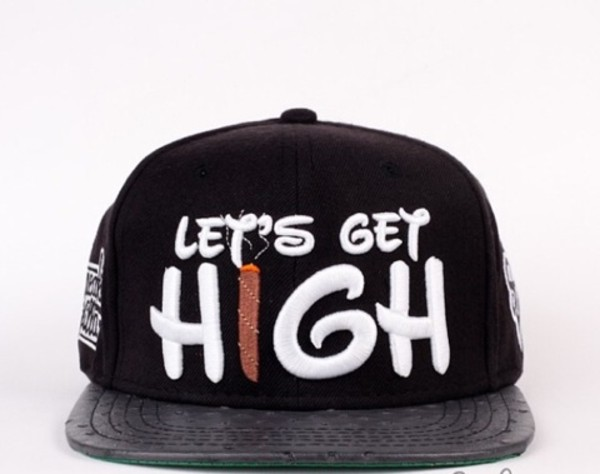 hat snapback snapback high disney weed joint drugs