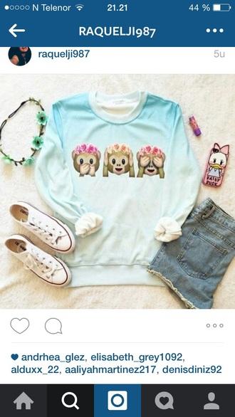 sweater white sweater monkey emojis on it