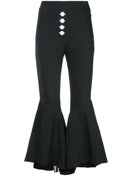 ellery flare women spandex black wool pants