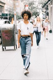 jeans,top,denim,white top,shoes