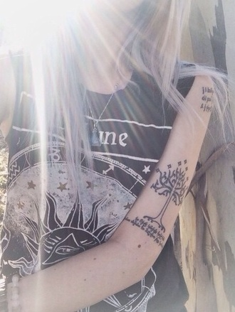 shirt t-shirt black and white fortune galaxy print sun moon fate moon phases top black drawing moon and sun eye evil eye indie hippie universe stars quote on it nature lune astrological