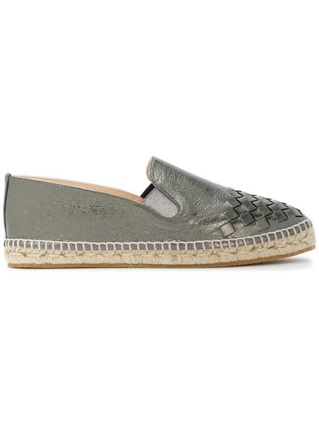 Bottega Veneta women espadrilles leather grey shoes