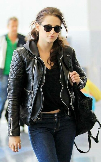jacket kristen stewart sunglasses black leather jacket biker jacket