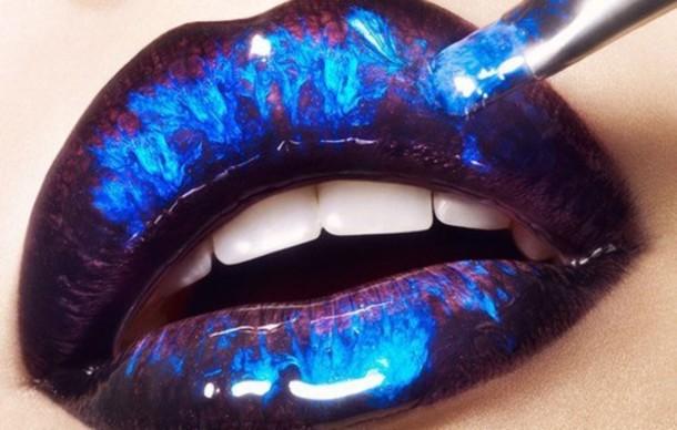 lips blue black marble metallic lipstick make-up jewels galaxy print colorful
