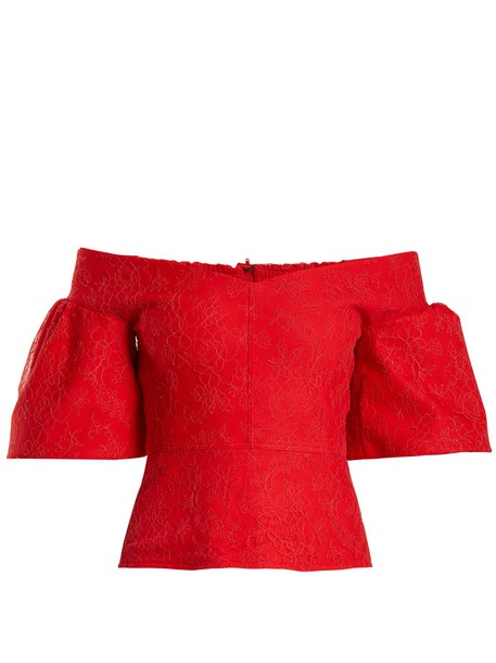 Emilio De La Morena top lace top lace cotton red