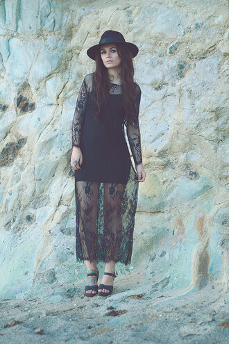 dress lace fashion maxi maxi dress style boho grunge black fashionista