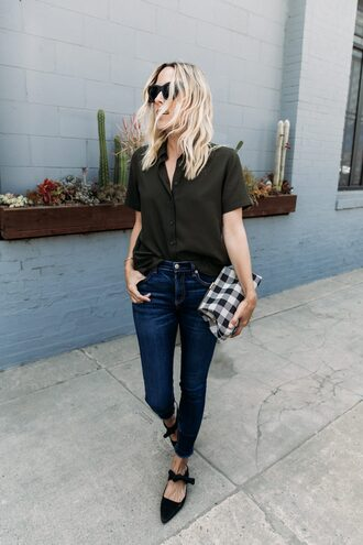 jeans green shirt tartan tumblr blue jeans skinny jeans shoes mules mid heel sandals shirt round sunglasses bag sunglasses top work outfits office outfits